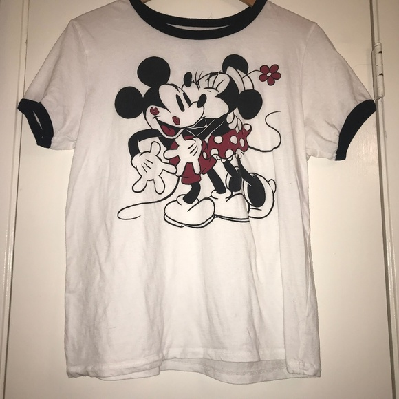 Disney Women/'s Juniors Classic Mickey White Ringer Crew Neck Crop top Sweatshirt